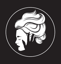 hand drawn beautiful woman profile with vector image