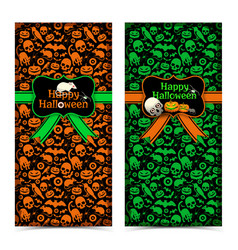 happy halloween vertical banners vector image
