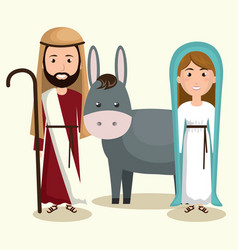 Happy merry christmas manger character vector