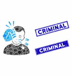 Head strike mosaic and distress rectangle criminal vector