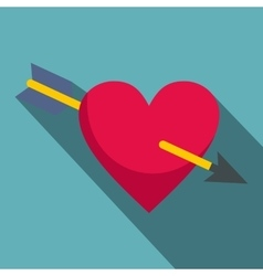 Heart pierced by Cupid arrow icon flat style vector