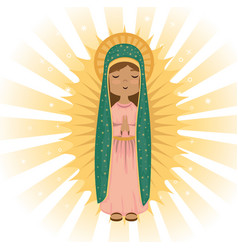 Holy virgin of guadalupe religious card vector