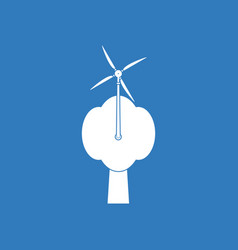 Icon wind turbine and tree vector
