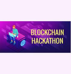 Isometric blockchain hackathon concept vector