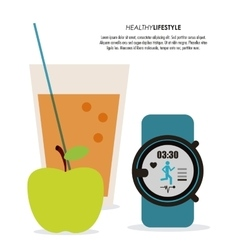 Juice watch and apple icon Healthy lifestyle vector