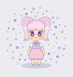 kawaii anime girl design vector image