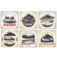 Kayaking Tours Posters Set vector