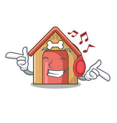 Listening music dog house isolated on mascot vector