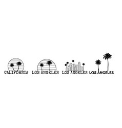 Los angeles symbol set line drawing with palm vector