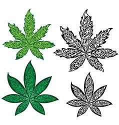 marijuana cannabis leaf textured symbol vector image