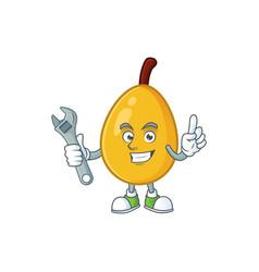 Mechanic loquat tropical fruit in cartoon mascot vector