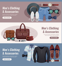 men accessories horizontal banner set vector image