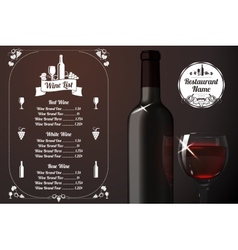 Menu template - for alcohol with realistic red vector image