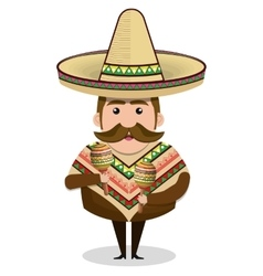 Mexican man character isolated icon vector