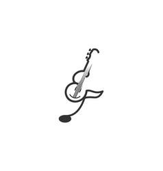 Mono line guitar ukulele musical logo inspiration vector