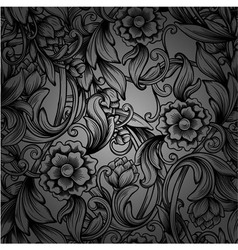 Monochrome seamless pattern with decorative peony vector