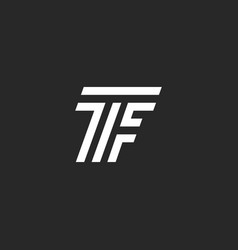 Monogram letter tf logo linked two capital vector