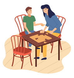 mother and son together at home playing table vector image