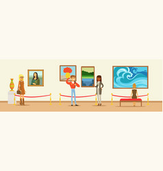museum visitors looking at the painting hanging on vector image