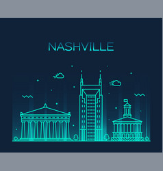 nashville skyline tennessee usa linear city vector image