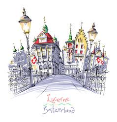 old town lucerne switzerland vector image