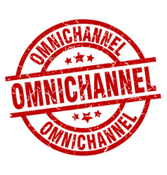 Omnichannel round red grunge stamp vector