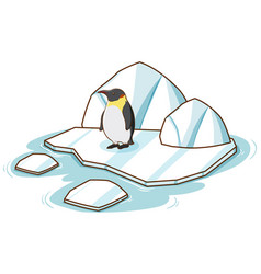 One penguin standing on ice on white background vector