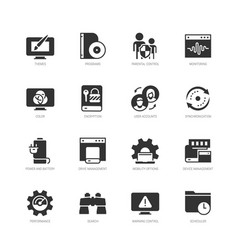 Operating system and its management icon set vector