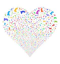 Pound sterling fireworks heart vector