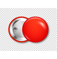 Realistic red blank badge 3d glossy round button vector