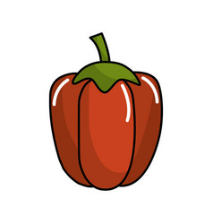 Red healthy pepper vegetable icon vector