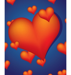 red hearts on blue background vector image vector image