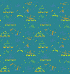 seamless nautical pattern paper ships ornament vector image