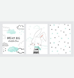 set cute baby shower cards or nursery posters vector image