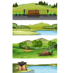 set of nature scene vector image
