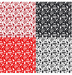 set of seamless patterns for grill and barbecue vector image