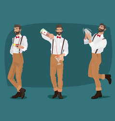 Set of three mustachioed hipster bartenders vector