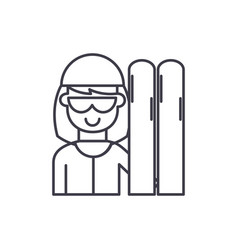 skier line icon concept skier linear vector image