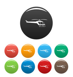 Small helicopter icons set color vector