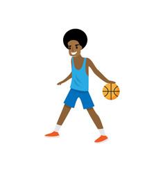 Smiling young african basketball player going with vector