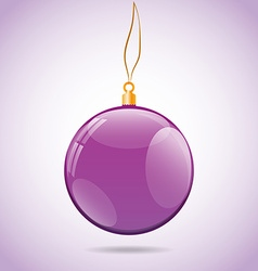 Square with violet shiny christmas ball vector image