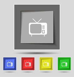 Tv icon sign on original five colored buttons vector