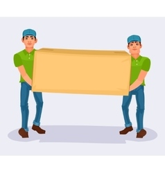Two men carries a cardboard box vector image