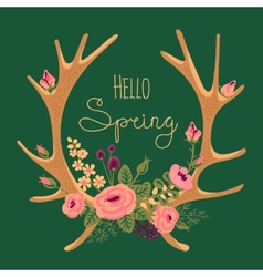 Vintage card with deer antlers and flowers vector image