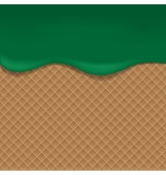 Wafer background with green jam vector image