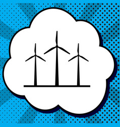 wind turbines sign black icon in bubble vector image