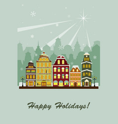 winter village greeting card vector image