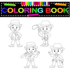 cowboys coloring book vector image