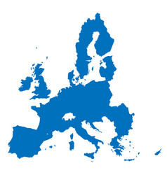 European union territory blue silhouette isolated vector