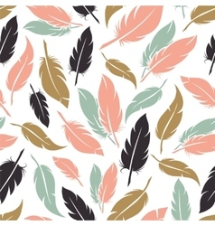 Feather seamless pattern in boho colors vector image vector image